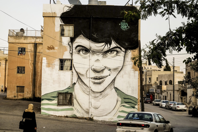 Hombre Stadt.Wand.Kunst Baladk Amman Jordanien