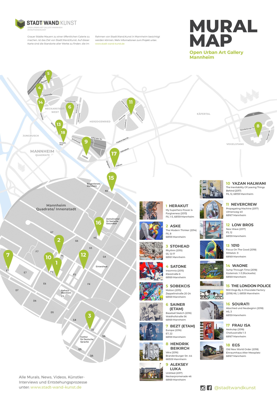Stadt Wand Kunst Mural Map Ubersichtskarte Aller Werke Stadt