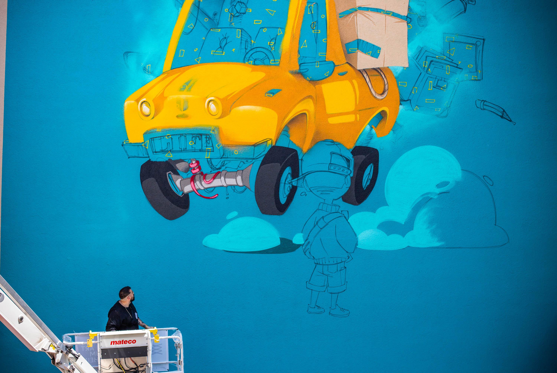 Das Mural LOAD von HOMBRE für Stadt.Wand.Kunst in Mannheim